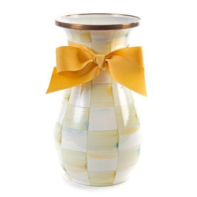Parchment Check Enamel Vase - Tall