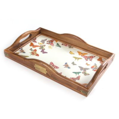 Butterfly Garden Large Hostess Tray - White