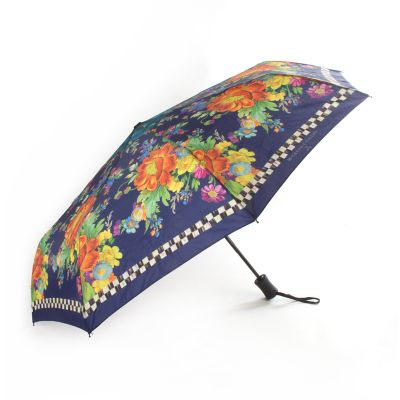 Flower Market Travel Umbrella - Navy