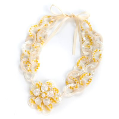 Parchment Check Blossom Bib Necklace