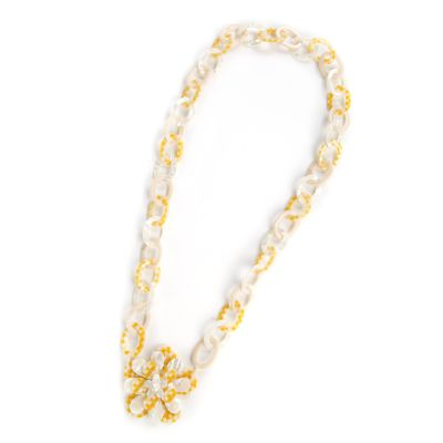 Parchment Check Blossom Big Flower Long Necklac