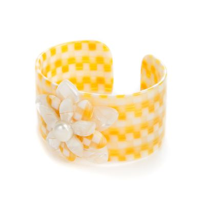 Parchment Check Blossom Cuff - Medium