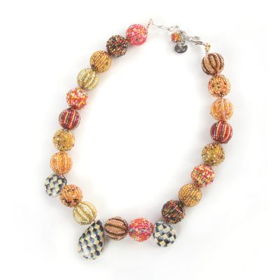Sunset Pom Pom Briolette Necklace