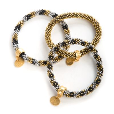 Gold & Silver Little Beaded Bracelets - Set of 3