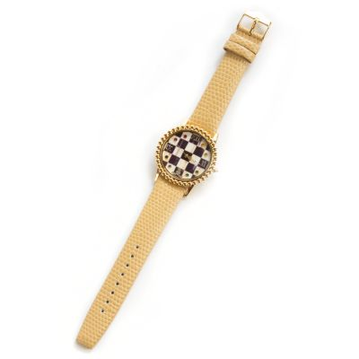 Courtly Check Round Watch - Sandpiper