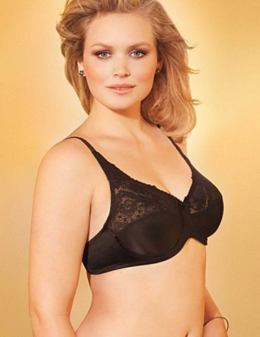 Lilyette Tailored Minimizer Bra with Lace Trim