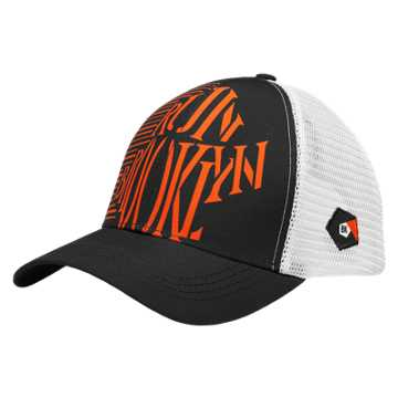 New Balance Brooklyn Technical Trucker Hat, Black with Orange