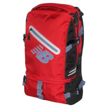 New Balance Commuter Backpack, Chrome Red with Black & Crater