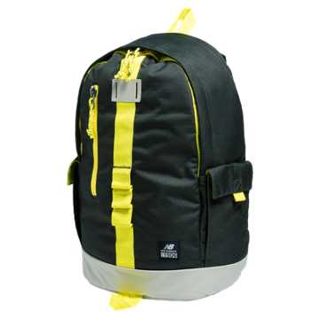 New Balance Lifestyle Backpack, Rifle Green with Viper Yellow & Stone Grey