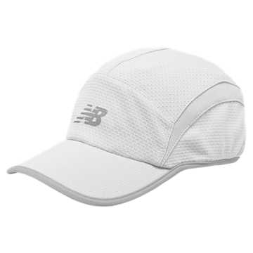 New Balance 5 Panel Performance Hat, White with Silver Mink