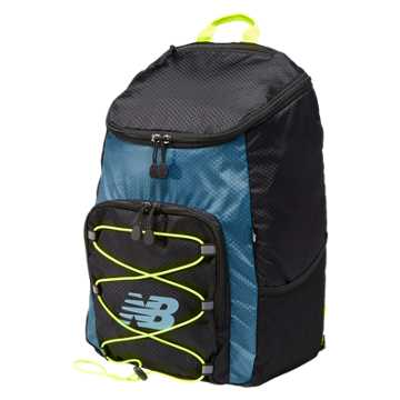 New Balance Podium Backpack, Black with Riptide & Firefly