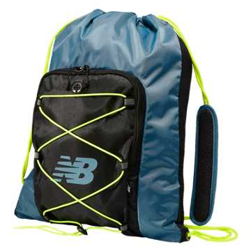 New Balance Media Cinch Sack, Riptide with Black & Firefly