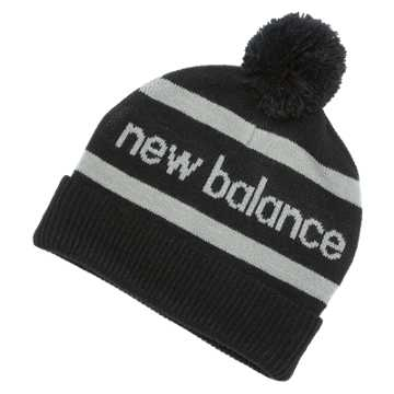 New Balance Snowball Beanie, Black with Silver Mink