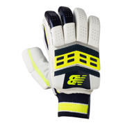 New Balance DC580 Gloves, White with Toxic