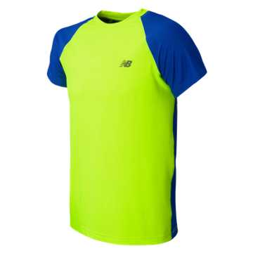 New Balance Short Sleeve Performance Tee, Toxic with Pacific