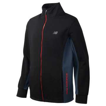 New Balance Full Zip Mock Neck Jacket, Black with Thunder