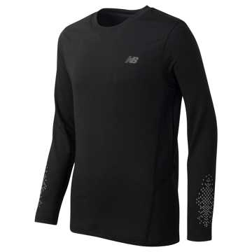 New Balance Long Sleeve Performance Tee, Black with Thunder