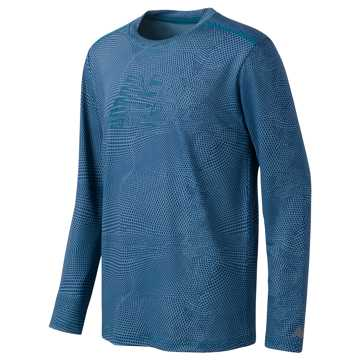 New Balance Long Sleeve Printed Performance Tee, Riptide
