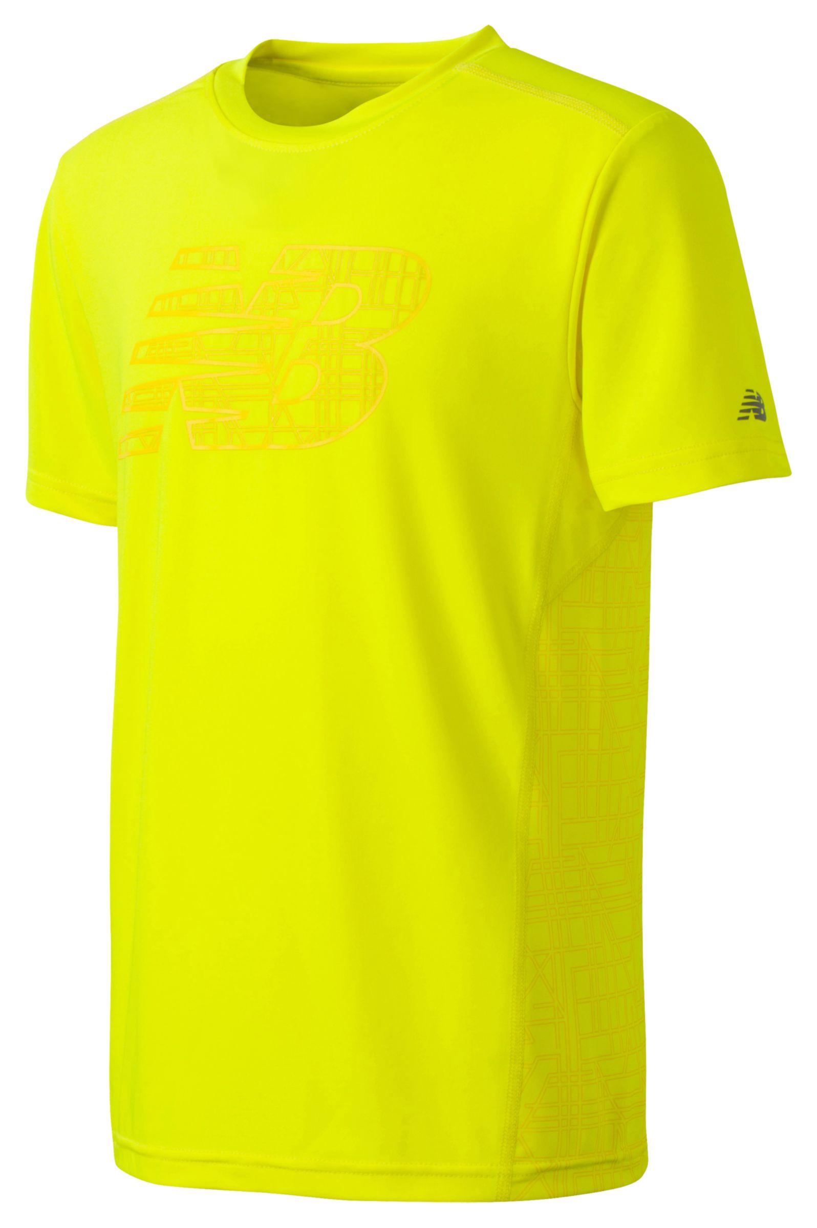 New Balance Boys Short Sleeve Printed Performance Tee Yellow