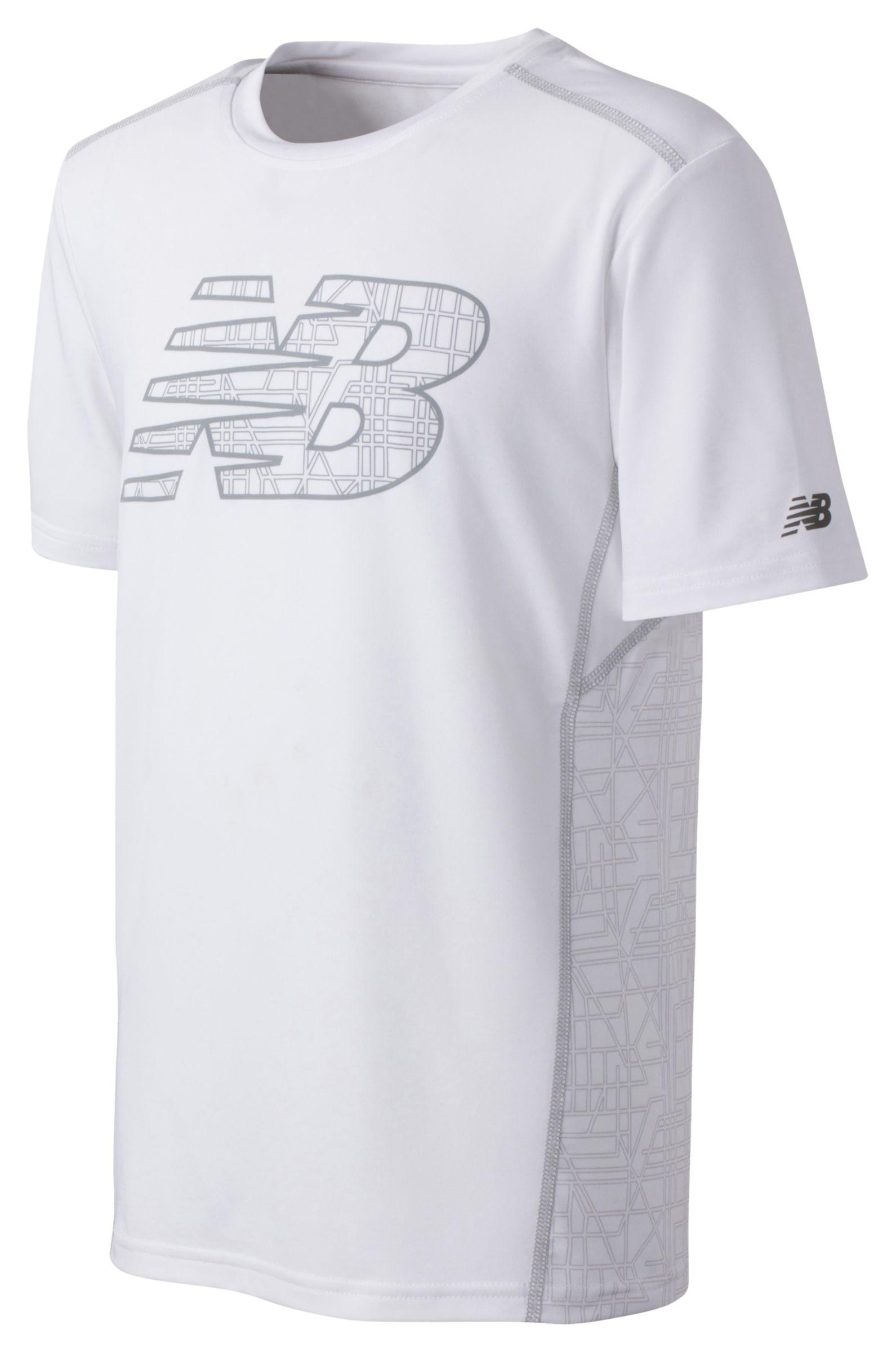 New Balance Boys Short Sleeve Printed Performance Tee White