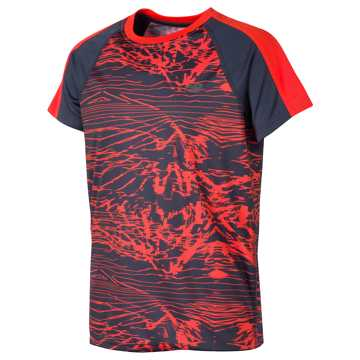 New Balance SS Printed Performance Tee, Thunder with Alpha Orange