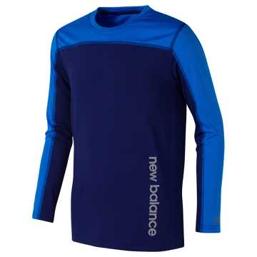 New Balance Long Sleeve Performance Tee, Basin with Electric Blue