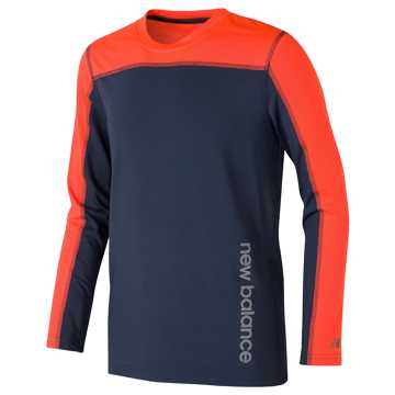 New Balance Long Sleeve Performance Tee, Thunder with Alpha Orange