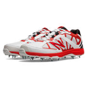 New Balance 10 Minimus Cricket, White with Red