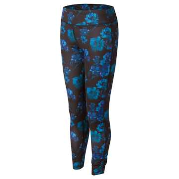New Balance Fashion Performance Printed Tight, Black with Castaway & Spectral
