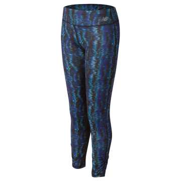 New Balance Fashion Performance Printed Tight, Black with Spectral