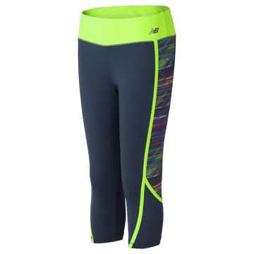 New Balance Fashion Performance Capris, Thunder with Lime Glo