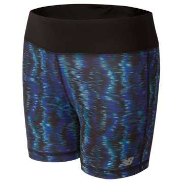 New Balance Performance Printed Bike Short, Black with Spectral