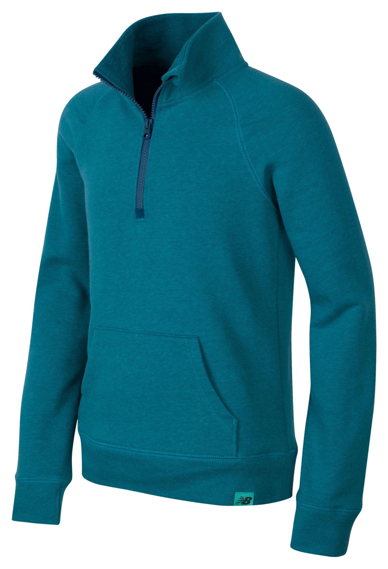 New Balance Girls Quarter Zip Pullover Blue