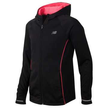 New Balance Full Zip Hooded Jacket, Black with Guava