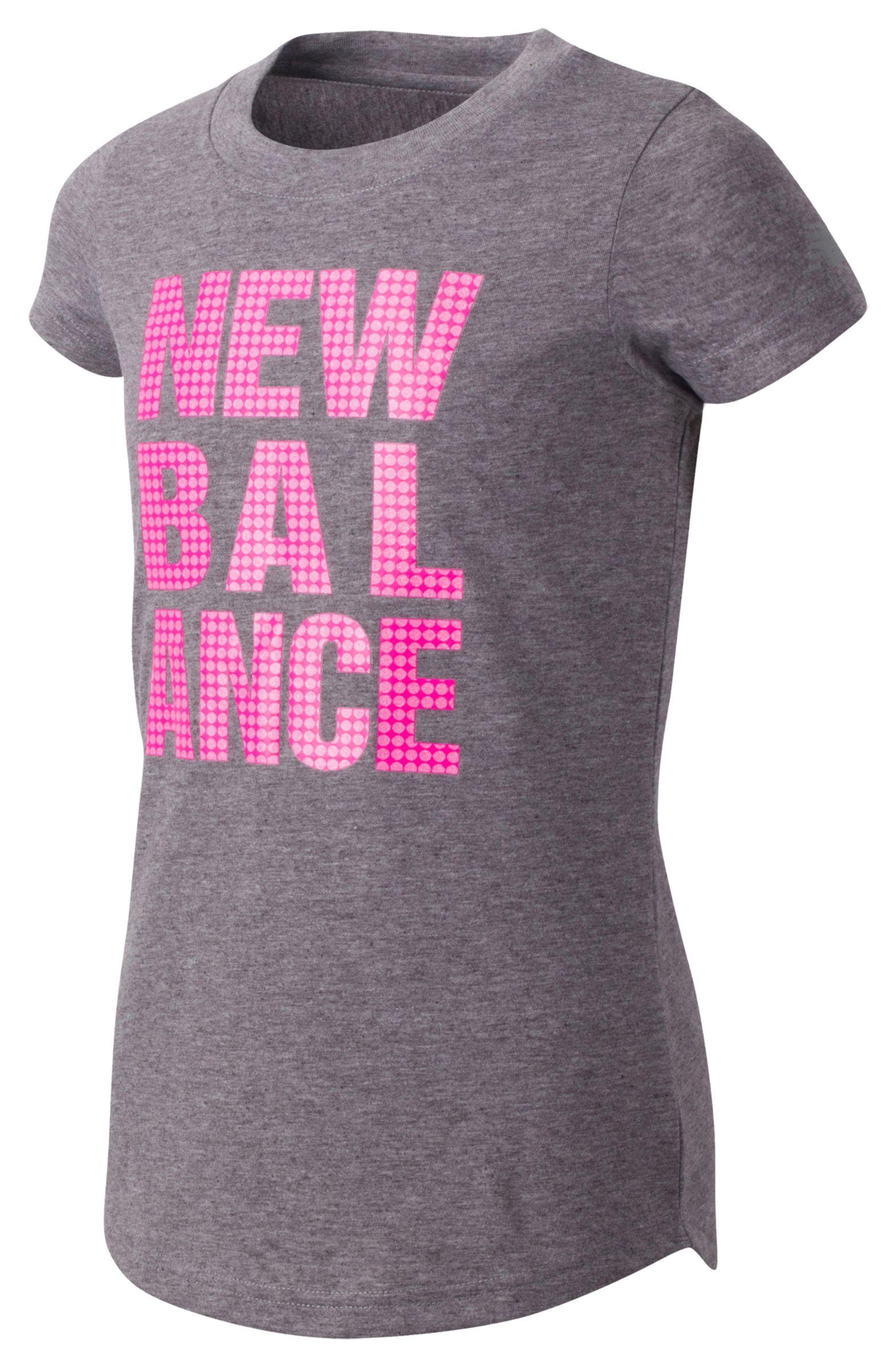 New Balance Girls Short Sleeve Graphic Tee Grey