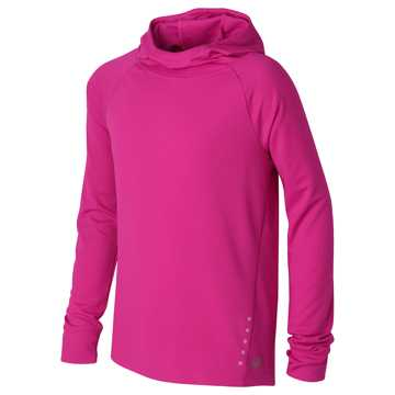 New Balance Hooded LS Performance Tee, Poisonberry