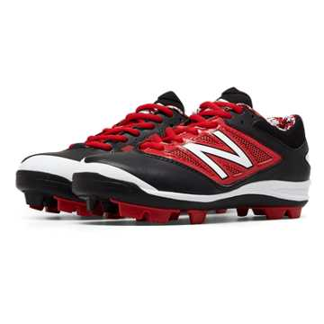 New Balance Low-Cut 4040v3 Rubber Molded Cleat, Black with Red