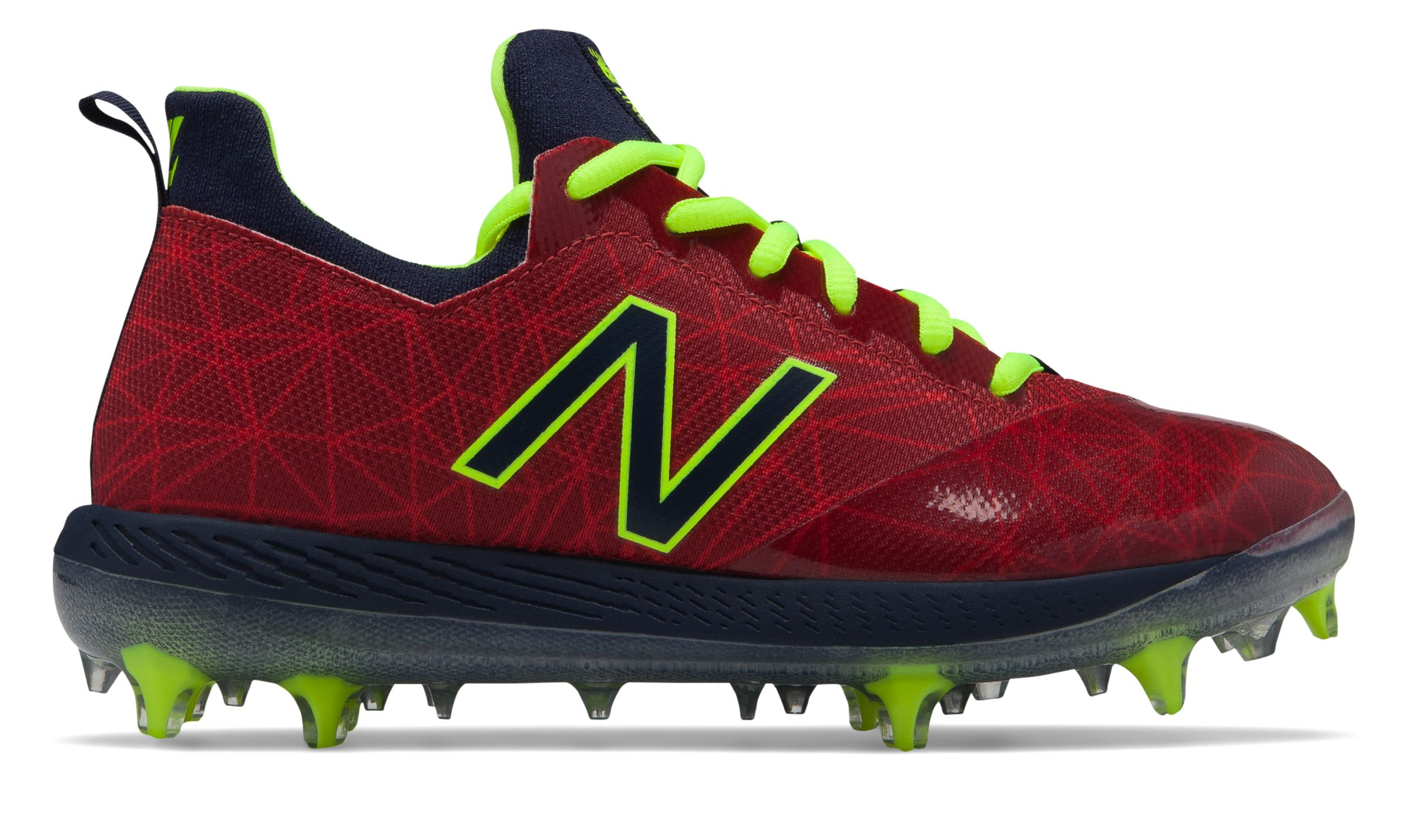New Balance Kid's Low-Cut Lindor Elite Youth Baseball Cleat Big Kids Unisex Shoes Red with Navy photo