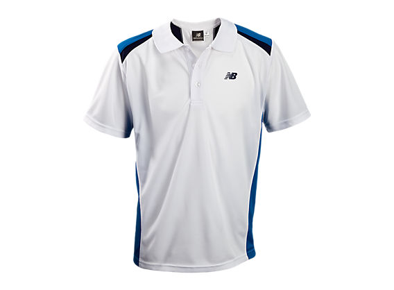 Youth Panel Polo, White with Black & Blue