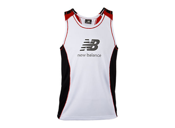 Youth Sleeveless Racer, White with Black & Red
