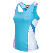 Girls Running Top, Aqua with White & Blue