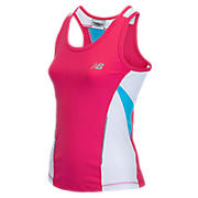 Girls Running Top, Diva Pink with White & Light Blue