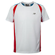 Boys Shockwave Tee, White with Chinese Red