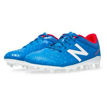 New Balance Junior Visaro Control FG, Bolt with Flame & White