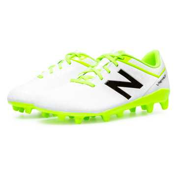 New Balance Junior Visaro Control FG, White with Toxic