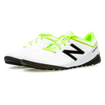 New Balance Junior Visaro Control TF, White with Toxic