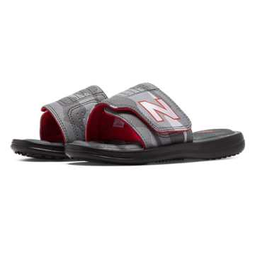New Balance Classic Slide, Black with Red & Grey