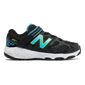 New Balance Hook and Loop 680v3, Black with Aqua & Hi-Lite
