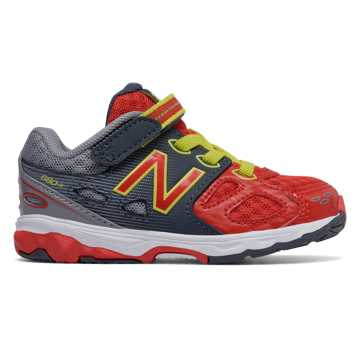 New Balance Hook and Loop 680v3, Grey with Red