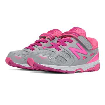 New Balance Hook and Loop 680v3, Grey with Pink